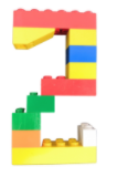 picture of number 2 made out of Lego bricks
